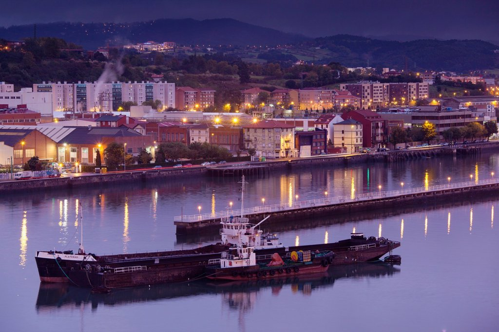 Spain, Basque Country Region, Vizcaya Province, Bilbao-area, Portugalete-Getxo, port view, evening : Stock Photo