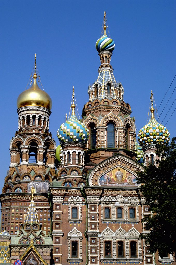 Russia, St  Petersburg,The Church of Our Savior on the Spilled Blood Where Tsar Alexander II was assasinated in 1881 : Stock Photo