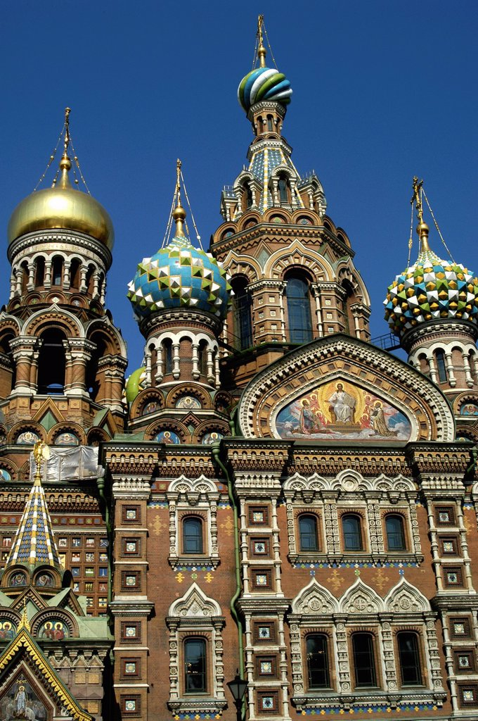 Stock Photo: 1566-892314 Russia, St  Petersburg,The Church of Our Savior on the Spilled Blood Where Tsar Alexander II was assasinated in 1881