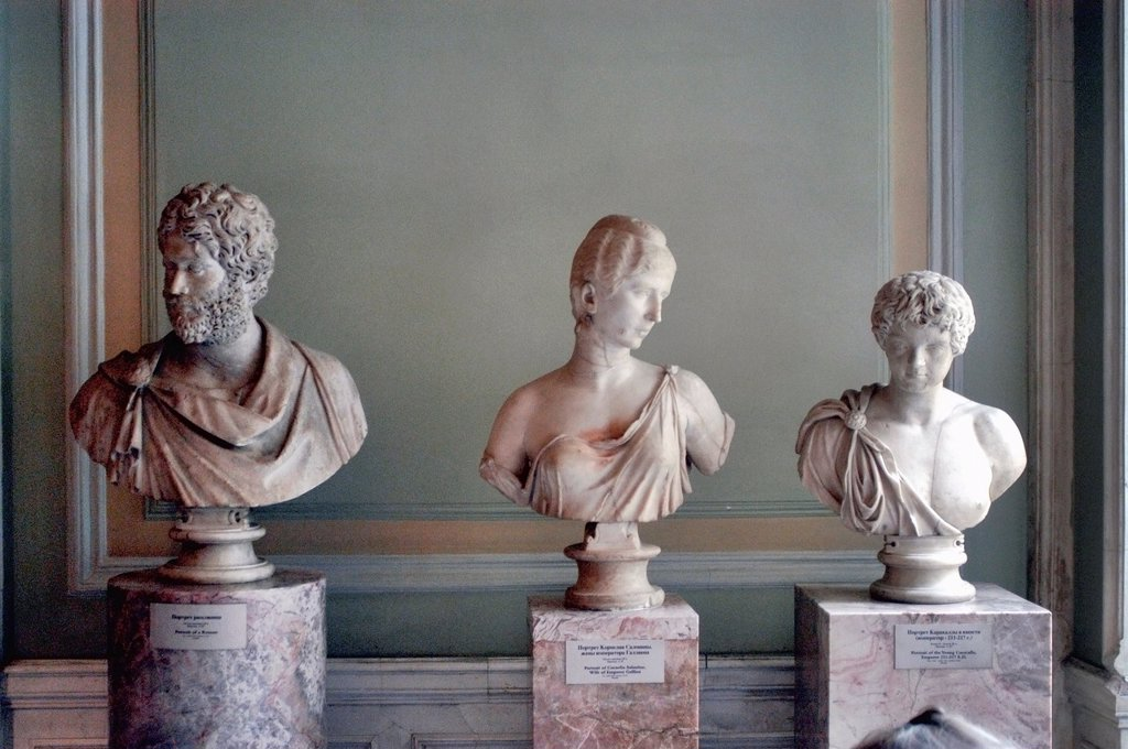 Russia, St  Petersburg, The State Hermitage Museum, L to R: Portrait of a Roman, Portrait of Cornelia Salonina, Portrait of Young Caracalla : Stock Photo