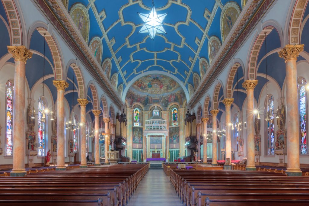 Stock Photo: 1566-892364 The beautiful interior of St  Michael´s Church, one of the churches in the Parish of the Resurrection, in Jersey City, New Jersey