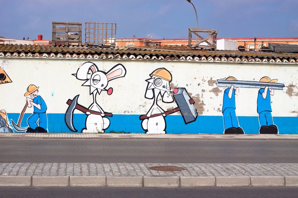 Stock Photo: 1566-892413 Graffiti street art culture in Spain  La Linea de la Concepcion, Cadiz, Andalusia, Spain