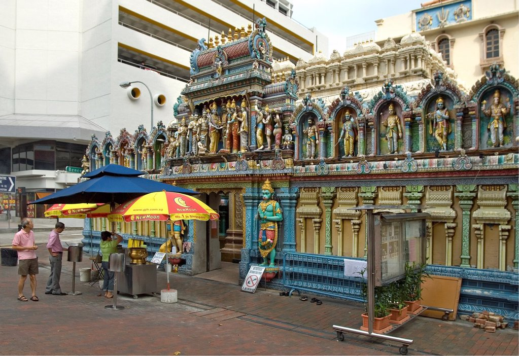 Sri Krishnan Temple, a Hindu temple dedicated to Lord Krishna, an incarnation of Vishnu  Its located in Bugis, Singapore : Stock Photo