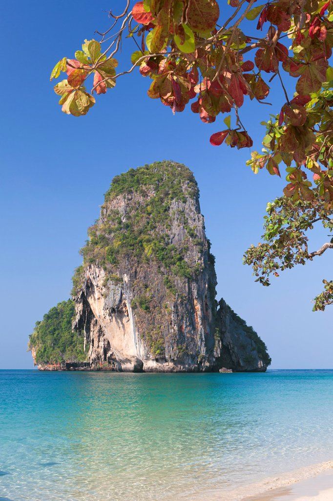 Stock Photo: 1566-892526 Karst formation on Laem phra nang beach, Thailand