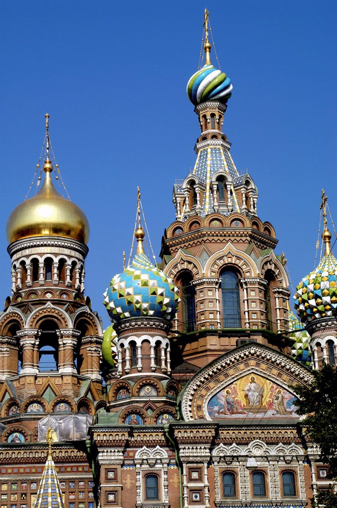 Stock Photo: 1566-892786 Russia, St  Petersburg,The Church of Our Savior on the Spilled Blood Where Tsar Alexander II was assasinated in 1881