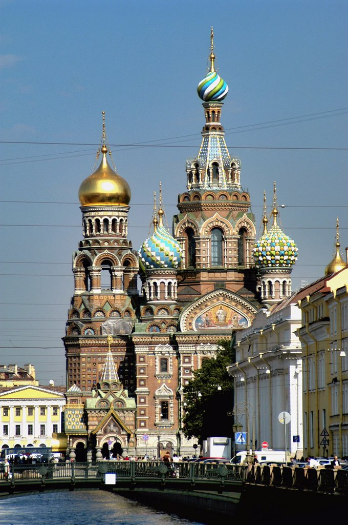 Stock Photo: 1566-892788 Russia, St  Petersburg, Griboyedova Canal, Church of Our Saviour on Spilled Blood in the background