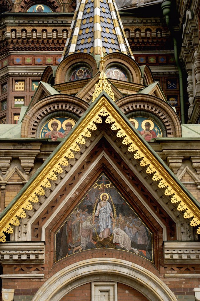 Russia, St  Petersburg,The Church of Our Savior on the Spilled Blood Where Tsar Alexander II was assasinated in 1881, Detail of exterior : Stock Photo