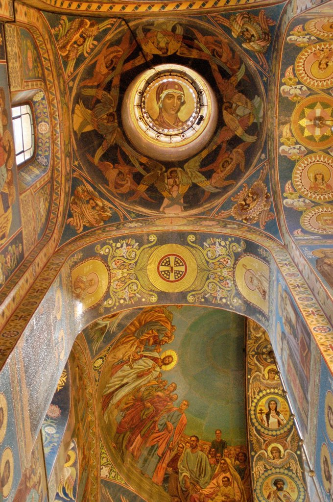 Stock Photo: 1566-892794 Russia, St  Petersburg,The Church of Our Savior on the Spilled Blood Where Tsar Alexander II was assasinated in 1881, Ceiling mosaics