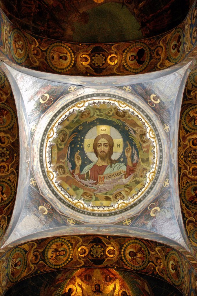 Russia, St  Petersburg,The Church of Our Savior on the Spilled Blood Where Tsar Alexander II was assasinated in 1881, Portrait of Jesus on a dome : Stock Photo