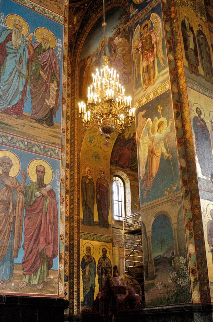 Russia, St  Petersburg,The Church of Our Savior on the Spilled Blood Where Tsar Alexander II was assasinated in 1881, Mosaic Murals on interior columns : Stock Photo