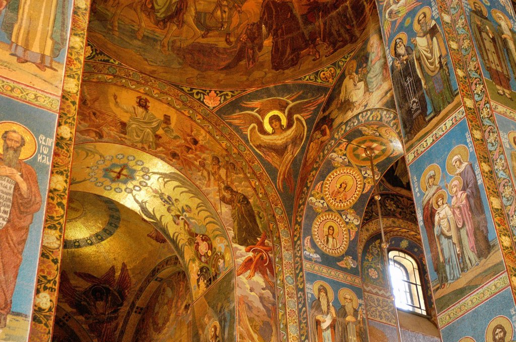 Stock Photo: 1566-892799 Russia, St  Petersburg,The Church of Our Savior on the Spilled Blood Where Tsar Alexander II was assasinated in 1881, Interior Mosaics
