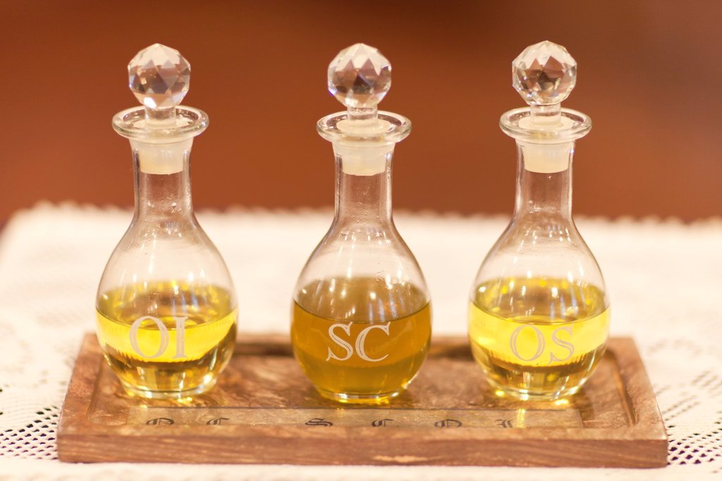 Stock Photo: 1566-892850 The Oil of the Infirm Oleum Infirmorum, the Holy Chrism Sacrum Chrisma, and the Oil of Catechumens Oleum Catechumenorum or Oleum Sanctorum