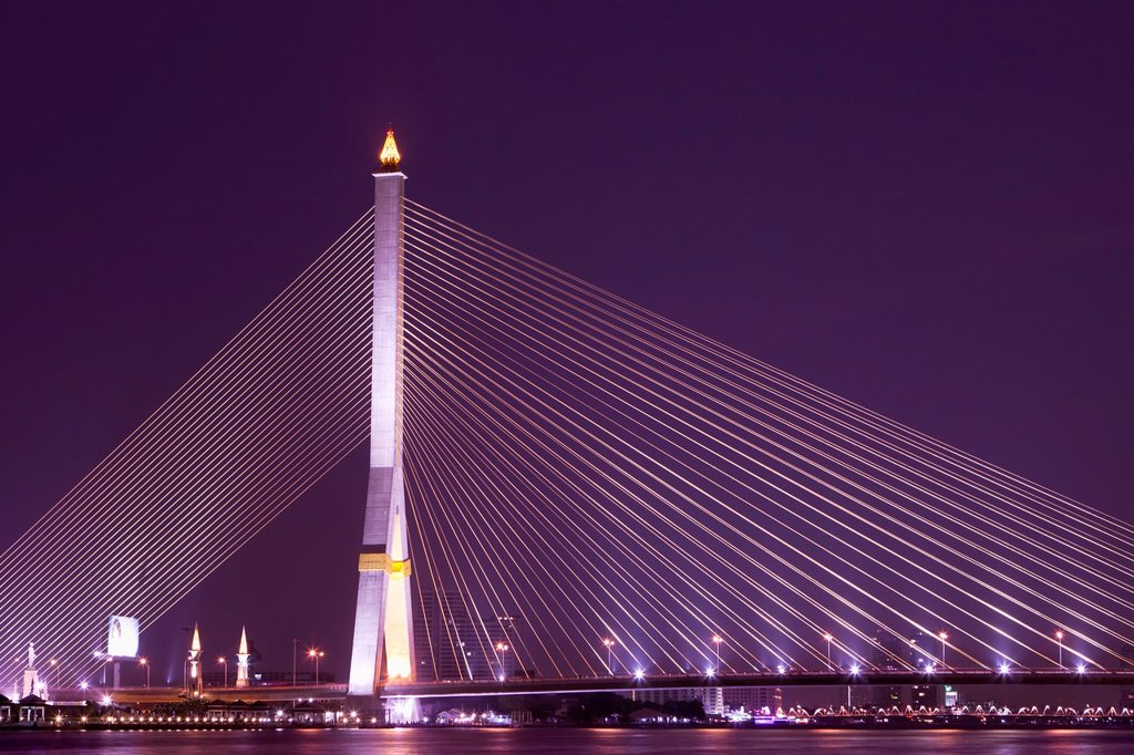 Stock Photo: 1566-893026 The Rama VIII Bridge in Bangkok at night, Thailand