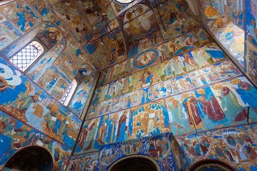Stock Photo: 1566-893079 Russia, Yaroslavl Oblast, Golden Ring, Rostov-Veliky, Rostov Kremlin, Gate Church of Saint John the Devine, interior frescoes