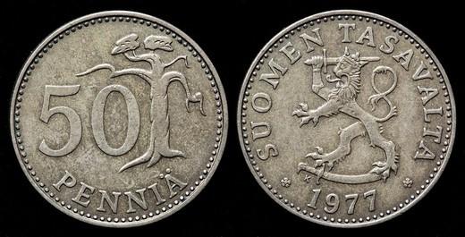 50 pennia coin, Finland, 1977 : Stock Photo