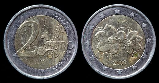 2 Euro coin, Finland, 2000 : Stock Photo