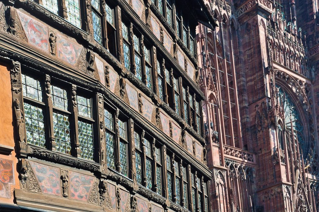Stock Photo: 1566-893974 Close up of the historic Kammerzell House, Strasbourg, Alsace, France, Europe
