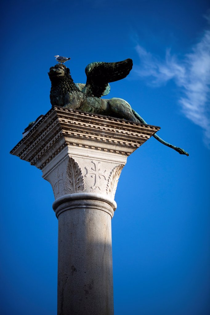 The Winged Lion on the Piazzetta, Venice, Italy : Stock Photo