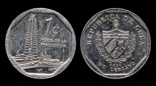 Stock Photo: 1566-894056 1 centavo coin, Cuba, 2002