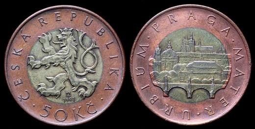 Stock Photo: 1566-894058 50 Korun coin, Czech republic, 1993