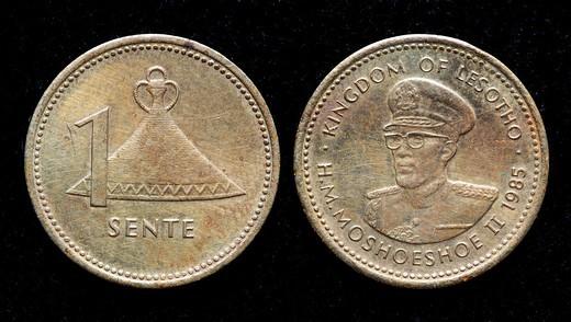 Stock Photo: 1566-894066 1 Sente coin, Lesotho, 1985