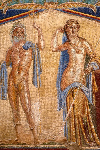 Stock Photo: 1566-894399 Herculaneum  Campania  Italy  Mosaic in the house of Neptune & Amphitrite