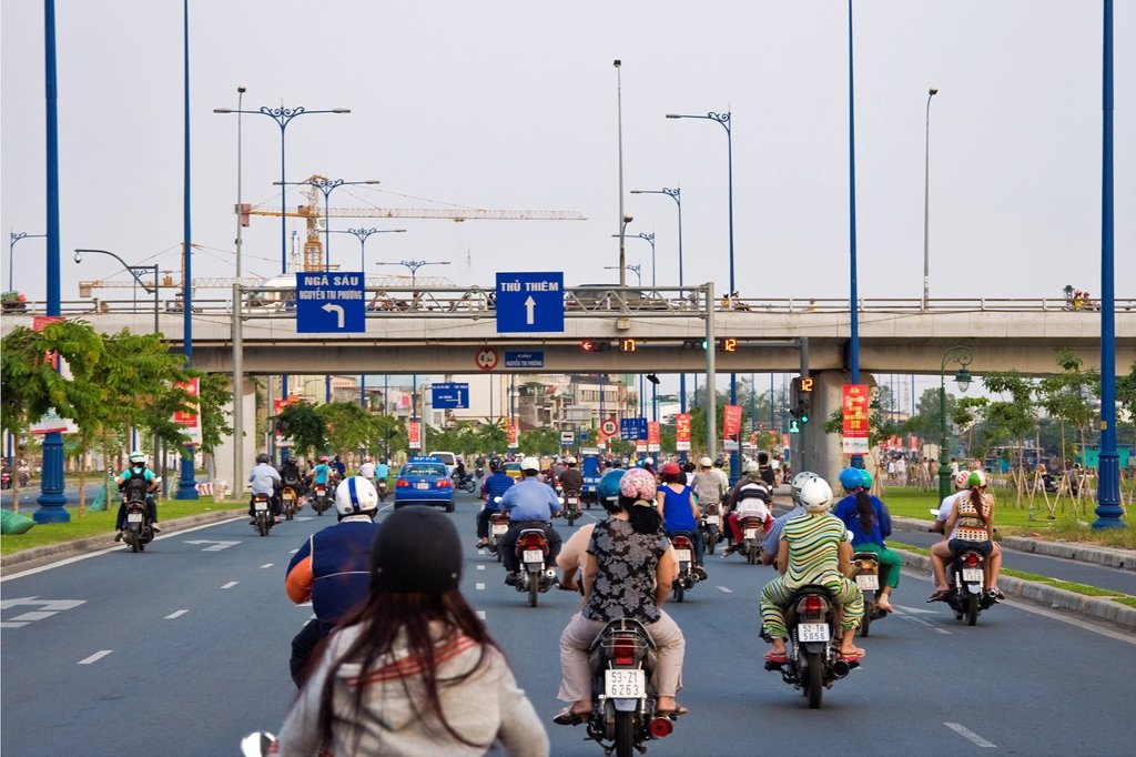 Stock Photo: 1566-894738 Traffic in town, Ho Chi Minh Ville, Vietnam
