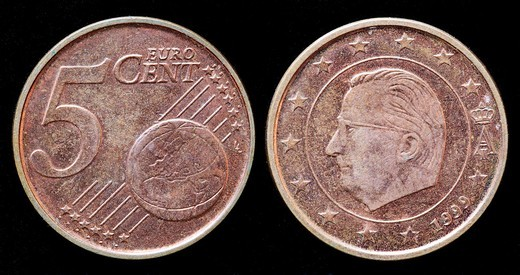 5 euro cent coin, Belgium, 1999 : Stock Photo