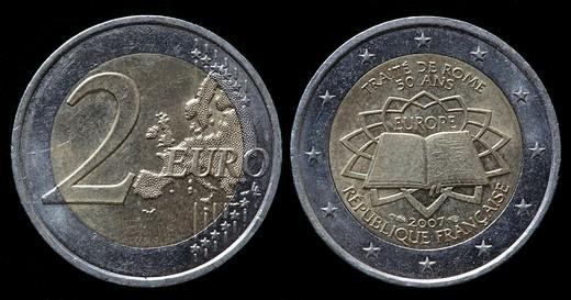 2 Euro coin, France, 2007 : Stock Photo