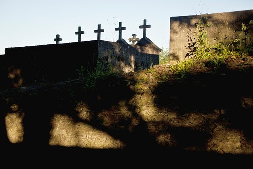 Graveyard crosses along the Camino de Santiago : Stock Photo