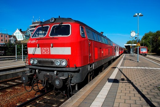 Diesel locomotive of Deutsche Bahn : Stock Photo