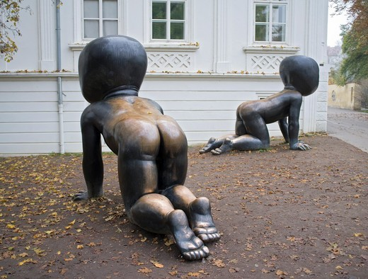 Sculptures outside Kampa Museum in Mala Strana in Prague in Czech Republic : Stock Photo
