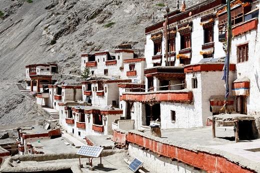 Rizong Gompa, buddhist monastery, in Ladakh, India : Stock Photo