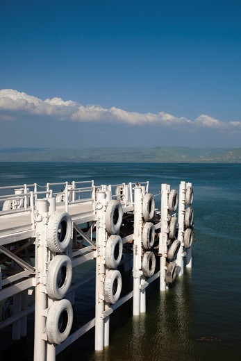 Stock Photo: 1566-895703 Israel, The Galilee, Tiberias, pier on Sea of Galilee-Lake Tiberias