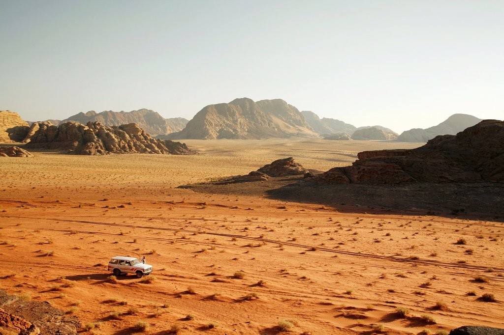 View seen from Umm Sabatah, Wadi Rum, Jordan : Stock Photo