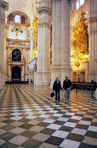Cathedral Interior Lateral vault Granada  Andalucia, Spain : Stock Photo