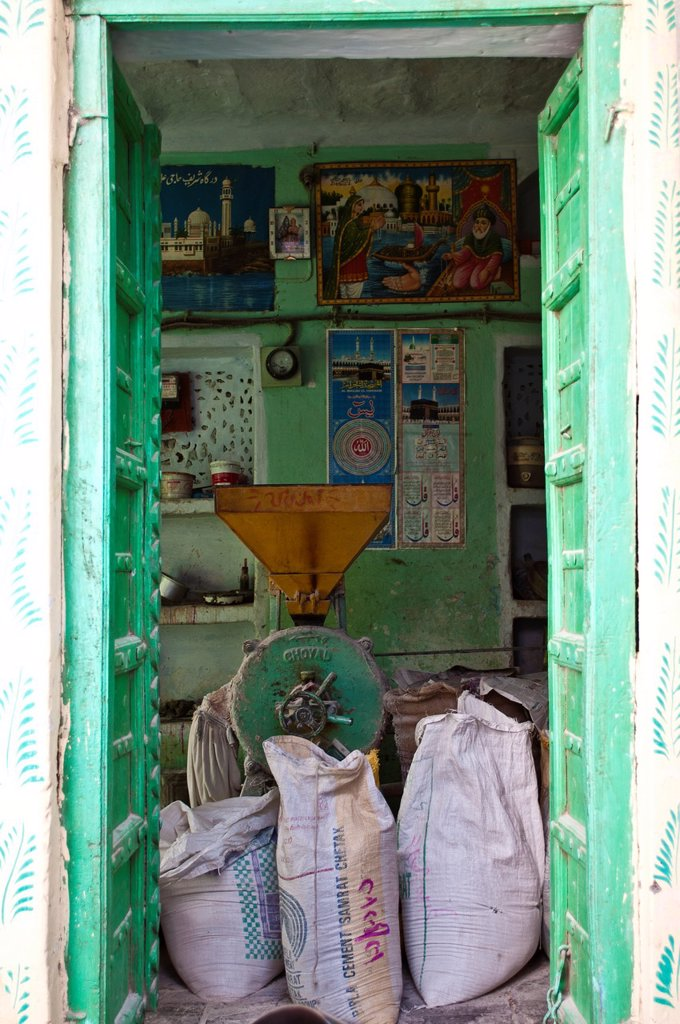 Cement shop, Pushkar, Rajasthan, India : Stock Photo
