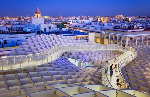 Structure and walkways on top of Metrosol Parasol, in Plaza de la Encarnación,Sevilla,Andalucía,Spain : Stock Photo