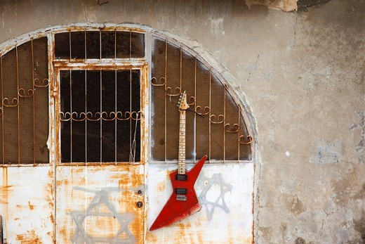 Israel, Jerusalem, Old City, Mt  Zion, hanging electric guitar : Stock Photo