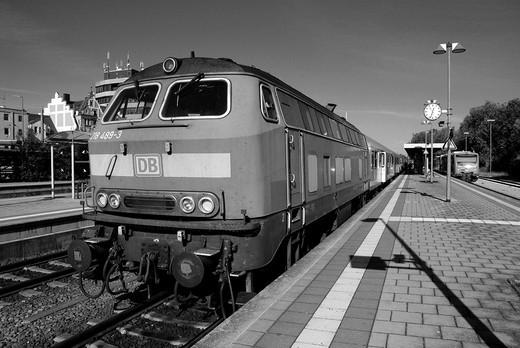 Diesel locomotive class 218 of the Deutsche Bahn AG : Stock Photo