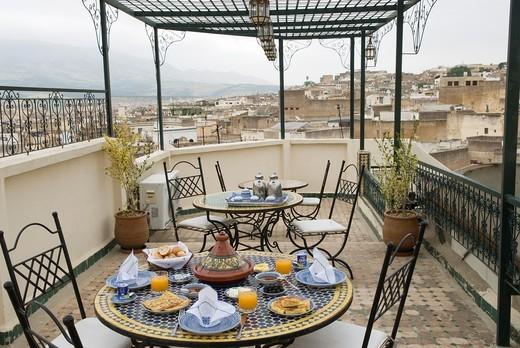 Stock Photo: 1566-897182 breakfast on the terrace, Ghita Riad, medina, Fes, Morocco, North Africa