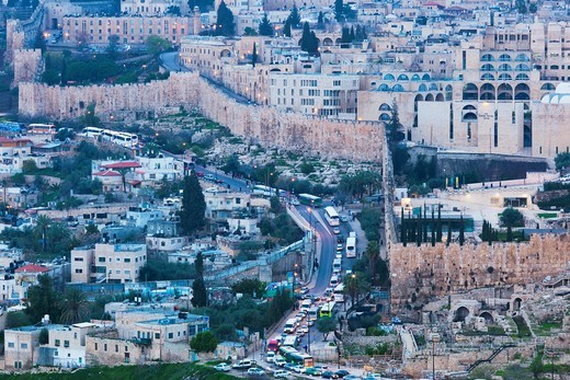 Israel, Jerusalem, elevated city view with Temple Mount and city walls from the Mount of Olives, dusk : Stock Photo