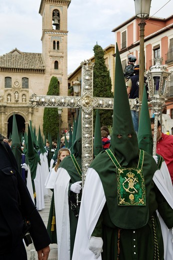Stock Photo: 1566-897458 Nazarenos, member of a procession during Easter week, holy Tuesday, Granada, Andalusia, Spain