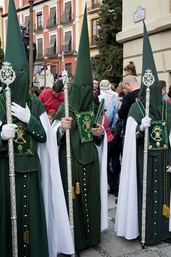 Stock Photo: 1566-897459 Nazarenos, member of a procession during Easter week, holy Tuesday, Granada, Andalusia, Spain