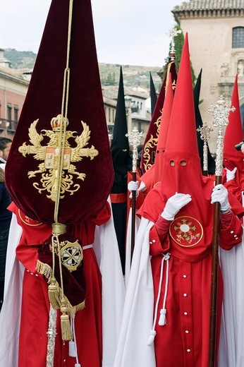 Stock Photo: 1566-897460 Nazarenos, member of a procession during Easter week, holy Tuesday, Granada, Andalusia, Spain