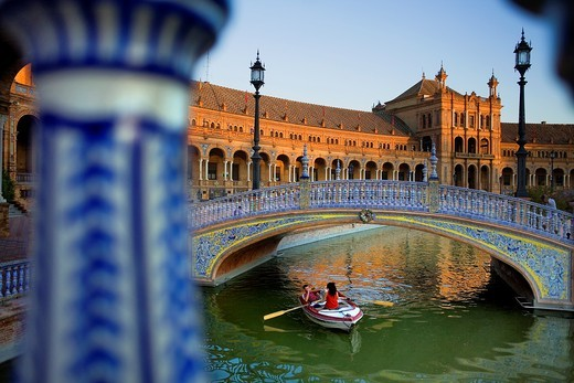 Stock Photo: 1566-897581 Boat in Plaza de España, Maria Luisa Park, Sevilla,Andalucía, Spain