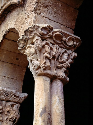 Stock Photo: 1566-898163 Romanesque Capital San Miguel de Sotosalbos  Segovia Spain  One of the best examples of Segovian Romanesque art  The church has only one nave, with a semicircular apse  Sotosalbos is a municipality located in the province of Segovia, Castile and León, Spa. Romanesque Capital San Miguel de Sotosalbos  Segovia Spain  One of the best examples of Segovian Romanesque art  The church has only one nave, with a semicircular apse  Sotosalbos is a municipality located in the province of Segovia, Castile a