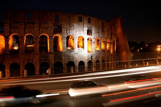 the colosseum at night in rome : Stock Photo