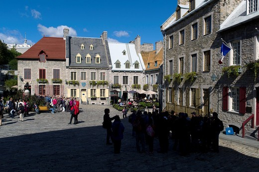 The Place Royale is located in the Lower Town in the historic district of Old Quebec and is considered the oldest French settlement in AmericaQuébec city  Québec province  Canada : Stock Photo