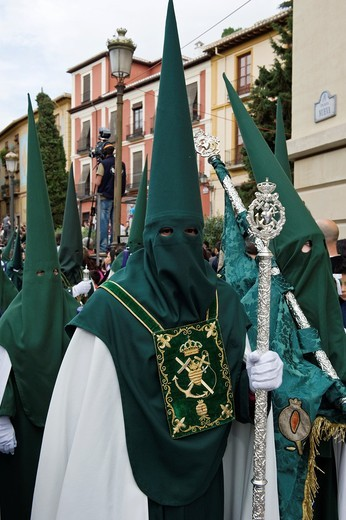 Stock Photo: 1566-898572 Nazarenos, member of a procession during Easter week, holy Tuesday, Granada, Andalusia, Spain